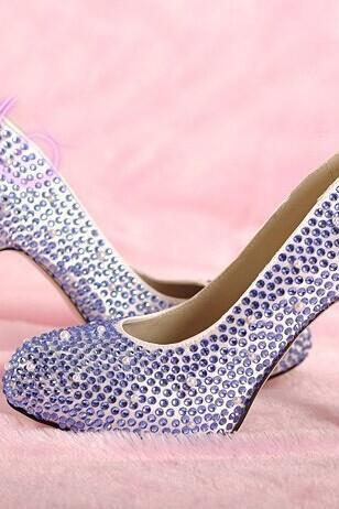 Light Purple Rhinestone Wedding Bridal Shoes fashion Ladies Dress Shoes Party Prom Crystal Pumps Bridesmaid Shoes, Bridal Shoes, Bridal, Women Peep Toe Shoes Lady Evening Party Club High Heel Dress Shoes