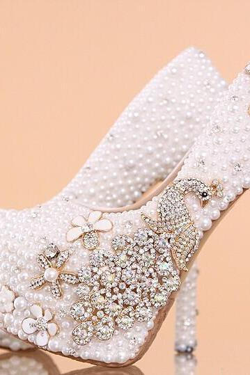 Pearl Wedding Shoes, Bridal Shoes, Bridal, Women Peep Toe Shoes Lady Evening Party Club High Heel Dress Shoes,Women's Luxury Crystal Wedding Shoes Rhinestone floral Bridal Shoes Peacock Women Pumps Bride Shoes Handmade