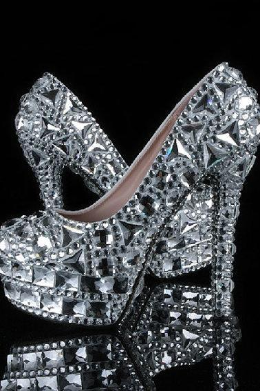 Fashion Silver Rhinestone Wedding Party Prom Shoes Luxury Full Crystal Bridal High Heels Nightclub Pumps, Bridal Shoes, Bridal, Women Peep Toe Shoes Lady Evening Party Club High Heel Dress Shoes