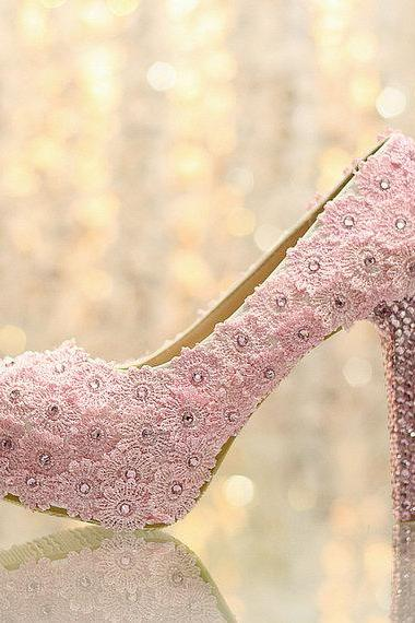 Fashion pink Lace Flower wedding Bridal shoes diamond Girl Dress Shoes Party Prom Shoes for Wedding Anniversary Party, Bridal Shoes, Bridal, Women Peep Toe Shoes Lady Evening Party Club High Heel Dress Shoes