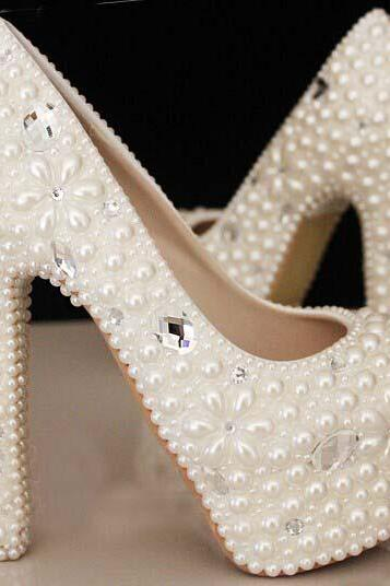 Pearl Wedding Shoes, Bridal Shoes, Bridal, Women Peep Toe Shoes Lady Evening Party Club High Heel Dress Shoes,Custom design shoes Make plus size pearl floral and crystals bridal wedding Pumps shoes Lady Shoes Party Prom High Heels