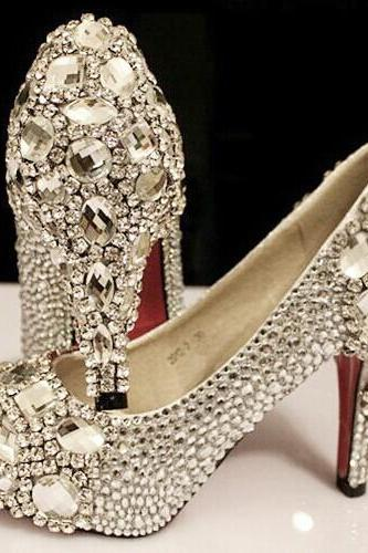 Bejeweled shoes New Arrival Elegant Wedding Shoes Fashion Crystal High Heels Glittering Platform Women Pumps Banquet Prom Shoe, Bridal Shoes, Bridal, Women Peep Toe Shoes Lady Evening Party Club High Heel Dress Shoes