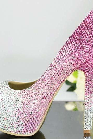 Handmade Crystal Rhinestone Bride Shoes Wedding Pumps Women pink white High Heels Women's Bridal Dress Shoes Prom Heels Bridal Shoes, Bridal, Women Peep Toe Shoes Lady Evening Party Club High Heel Dress Shoes