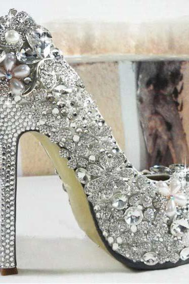 Elegant Wedding Bridal Shoes heart Rhinestone with Imitation Pearl floral High Heel women Wedding Dress Shoes, Bridal Shoes, Bridal, Women Peep Toe Shoes Lady Evening Party Club High Heel Dress Shoes