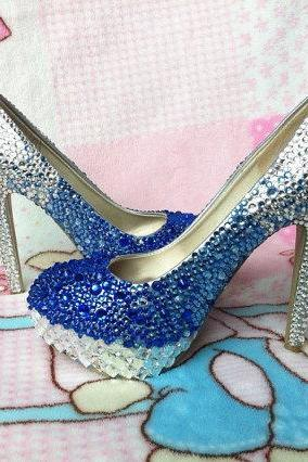 Handmade Rhinestone Royal Blue Silver Gradient Color Wedding Shoes Dress Shoes Pumps bridal bling heel, Bridal Shoes, Bridal, Women Peep Toe Shoes Lady Evening Party Club High Heel Dress Shoes