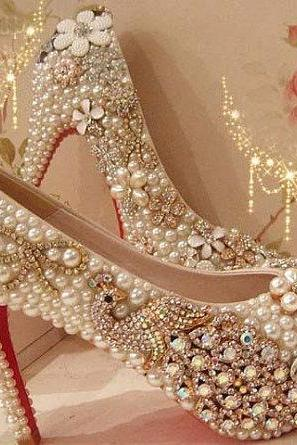 Pearl Wedding Shoes, Bridal Shoes, Bridal, Women Peep Toe Shoes Lady Evening Party Club High Heel Dress Shoes,Fashion 2017 High Heel Wedding Shoes Pearl Peacock Rhinestone Women Shoes Wedding Shoes red bottom Shoes