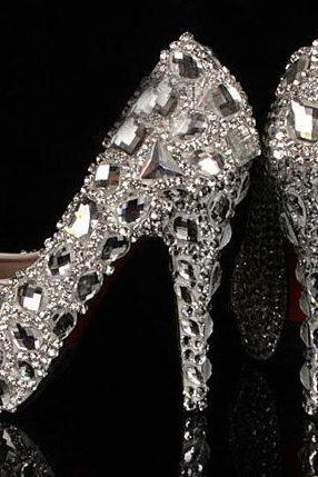Bling Crystal High Heel Wedding Shoes Silver Bridal Dress Shoes Woman Nightclub Party Banquet Dress Shoes, Bridal Shoes, Bridal, Women Peep Toe Shoes Lady Evening Party Club High Heel Dress Shoes