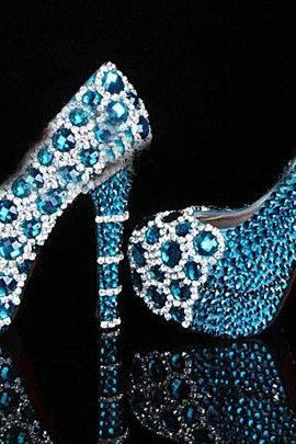 Unique bling Blue Crystal Diamond Wedding dress shoes Handmade Rhinestone Party Prom Shoes Bridesmaid Shoes, Bridal Shoes, Bridal, Women Peep Toe Shoes Lady Evening Party Club High Heel Dress Shoes