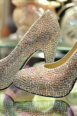 Cinderella Crystal Shoes Nightclub High Heel Platform Shoes Bridal Wedding Shoes AB Crystal Glitter Rhinestone Party Prom Shoes, Bridal Shoes, Bridal, Women Peep Toe Shoes Lady Evening Party Club High Heel Dress Shoes