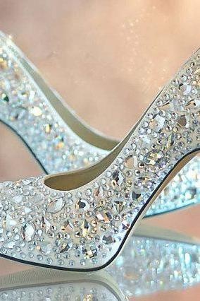 Nice Blue crystal lady's formal shoes Jeweled Beaded High Heel Bridal Evening Prom Party Wedding Dress Bridesmaid Shoes Wedding Shoes, Bridal Shoes, Bridal, Women Peep Toe Shoes Lady Evening Party Club High Heel Dress Shoes