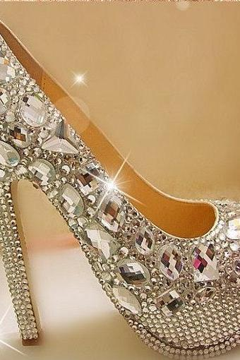 Pearl Wedding Shoes, Bridal Shoes, Bridal, Women Peep Toe Shoes Lady Evening Party Club High Heel Dress Shoes,Gorgeous Fashion Silver High Heels Crystal Wedding Shoes Lady Glitter Bridal Dress Shoes Graduation Party Prom Shoes