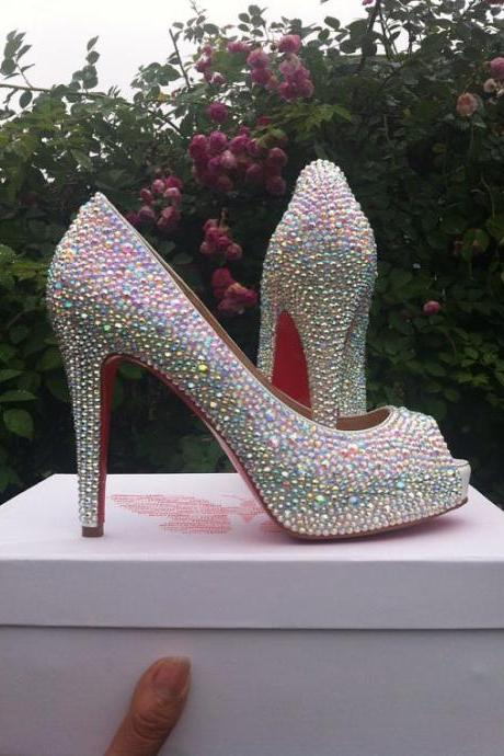 Pearl Wedding Shoes, Bridal Shoes, Bridal, Women Peep Toe Shoes Lady Evening Party Club High Heel Dress Shoes,Dazzling crystal AB Strass Crystal High Platform Shoes diamond Rhinestone 4 inch heels wedding shoes Party Prom High Heels