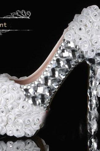Pearl Wedding Shoes, Bridal Shoes, Bridal, Women Peep Toe Shoes Lady Evening Party Club High Heel Dress Shoes,New Arrival White Lace Wedding Dress Shoes High-heeled Bridal Shoes with Pearls rhinestone Shiny 14cm heel Party Prom Shoes