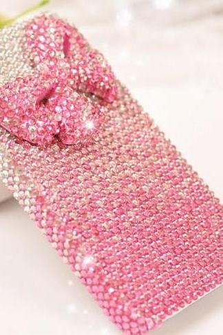 6s plus 6c Pink bow diamond Hard Back Mobile phone Case Cover bling girly Rhinestone Case Cover for iPhone 4 4s 5 7plus 5s 6 6 plus