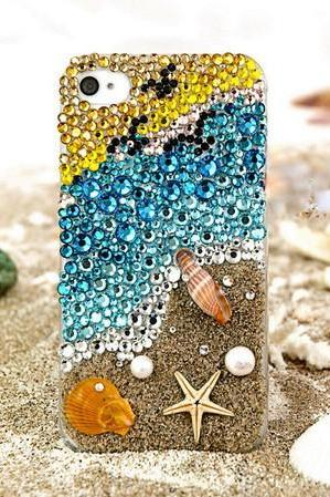 6s plus 6c Sparkly Colorful sea beach diamond Hard Back Mobile phone Case Cover bling handmade crystal Case Cover for iPhone 4 4s 5 7plus 5s 6 6 plus