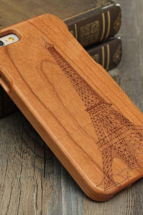 Luxury Natural Wood Wooden Bamboo Hard Cover Phone Case For Apple Iphone 6/6s/Plus, Iron Tower