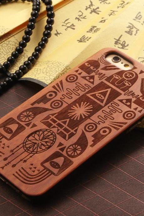Luxury Natural Wood Wooden Bamboo Hard Cover Phone Case For Apple Iphone 6/6s/Plus, Egyption Pharaoh