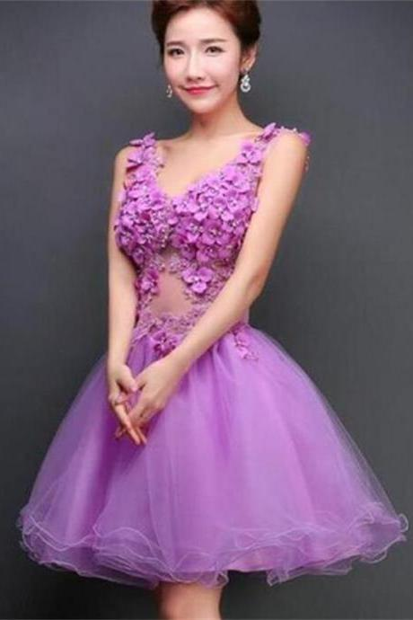 Cheap Homecoming Dress,V-Neck Prom Dress,Tulle Prom Dress,Junior Homecoming Dress,A-Line Evening Dress, Homecoming Dresses ,Custom Dresses,