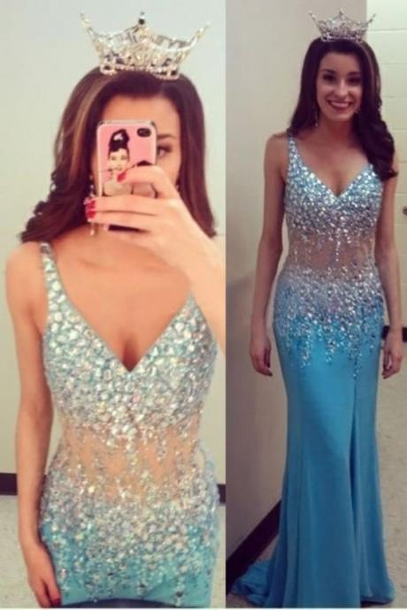 Long prom dress v-neck prom dress , sexy prom dress , sparkly party dress , size slit prom dress , occasion dress , cocktail prom dress , hand made dress , popular dresss,Homecoming Dress,
