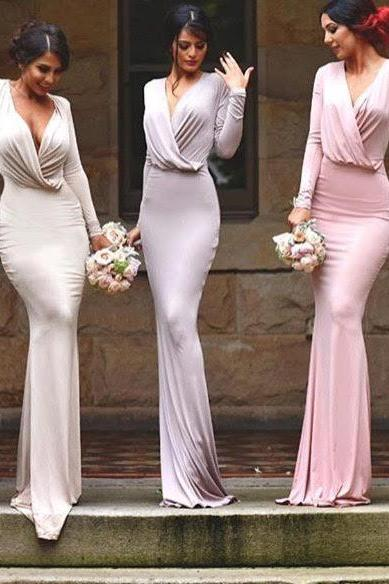 long sleeves sexy bridesmaid dress,simple unique style bridesmaid dress,formal evening wedding party prom dresses,long bridesmaid dress ,bridesmaid gown,s,Homecoming Dress,