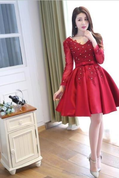 Red Homecoming Dress,Long Sleeves Homecoming Dress,V-neck Homecoming Dress, Lace Up Homecoming Dress,Graduation Dress , Homecoming Dress ,Prom Dress for Teens,s,Homecoming Dress,