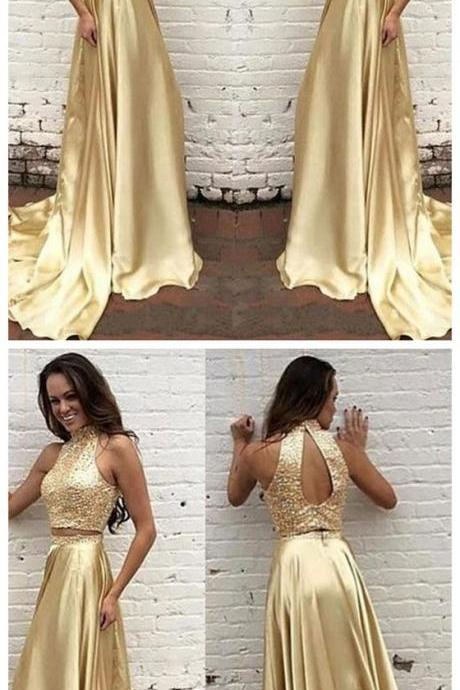 Two pieces Prom Dress,High neck Prom Dress,Gold Prom Dress ,New Arrival Prom Dress,Pretty Prom Dresses ,Evening dresses, Prom Dresses,Long Prom Dresss,Homecoming Dress,