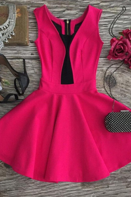 Design V-neck zipper sleeveless dress