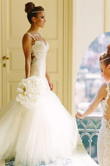 Lace Appliques Sweetheart Shoulder Straps Floor Length Tulle Mermaid Wedding Dress Featuring Illusion Open Back