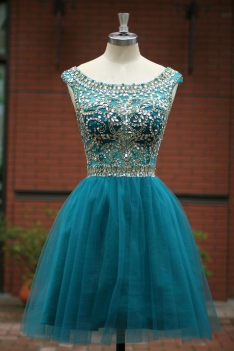 Evening Dresses,prom dress ,long prom dress ,lace prom dress O neck prom dress,V back prom dress ,party dress Elegant Sleeveless tulle Short Prom Dress 2015, party Dress,evening dress 2016 cocktail dress homecoming dress
