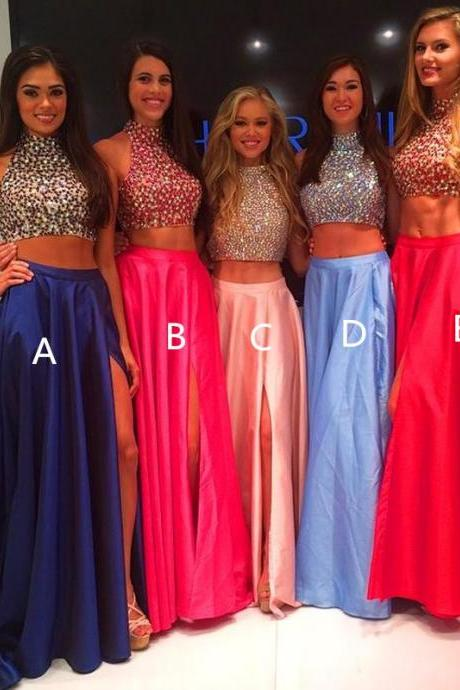 Prom Gown,Royal Blue Prom Dresses,2 Piece Prom Gown,Two Piece Prom Dresses,Satin Prom Dresses,New Style Prom Gown,Pearl Pink Prom Dress,Slit Prom Gowns,Red Evening Dress