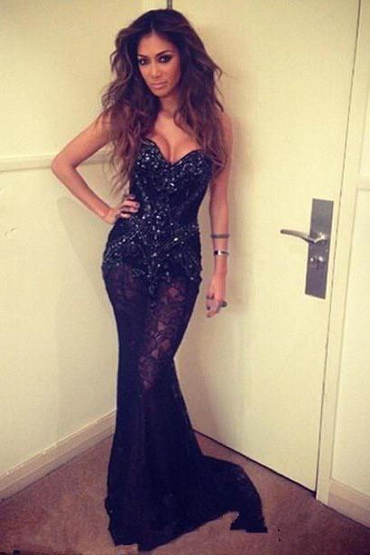 Prom Gown,Black Prom Dresses,Mermaid Prom Gowns,Black Prom Dress,Formal Dresses,Lace Prom Gown,Sparkly Evening Dress For Teens