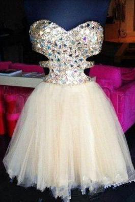 Prom Gown,Ivory Homecoming Dress,Short Homecoming Dresses,Tulle Homecoming Gown,Simple Party Dress,Sparkle Prom Gown,Cocktail Dress,Sweet 16 Dress