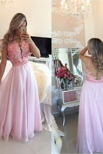 New Arrival Prom Dress,Pink lace long prom dresses,elegant A-line lace long evening dresses,pink formal dress,fashion dress for teens