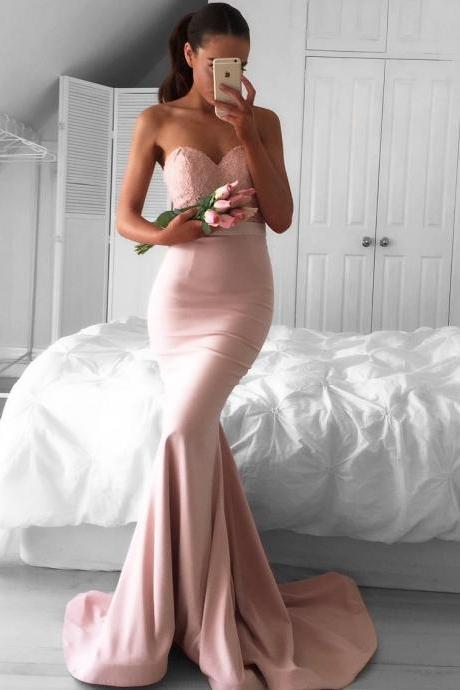 Prom GownSweetheart Mermaid Newest Sleeveless Sweep-Train Prom Dress Newest Mermaid Prom Dress