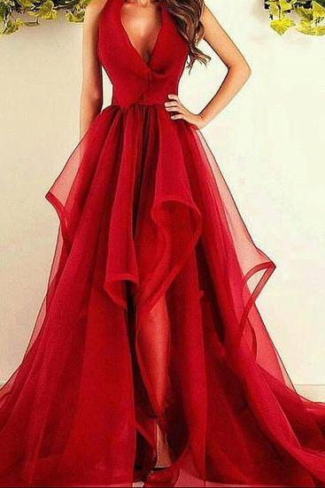 Prom GownProm Dresses,Long Prom Dresses,New Fashions Long Prom Dress Red Evening Dress Organza Prom Dresses Sexy Formal Evening Gowns Dress,Mermaid Prom Gown For Teens