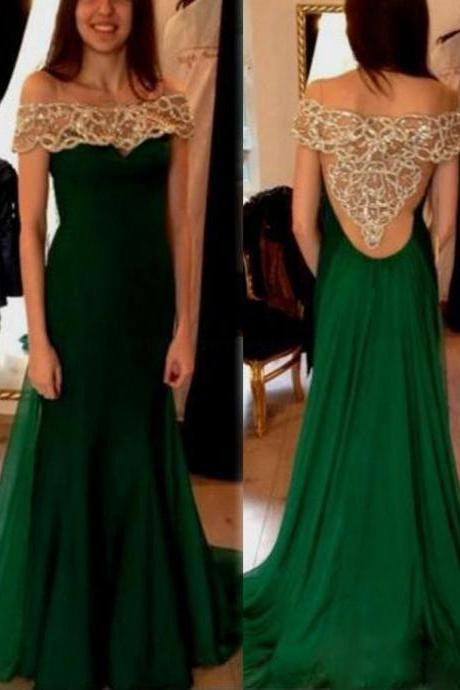 Prom GownDark Green A-Line Off the Shoulder Short Sleeves Prom Dress with Beadingarty Dress,Mermaid Prom Gown For Teens