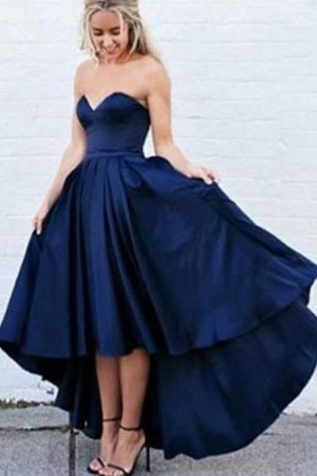 Prom GownNavy Blue Prom Dresses,Mermaid Prom Dress,Satin Prom Dress,Navy Blue A-Line Sweetheart Sleeveless High Low Prom Dress with Pleatsy Dress,Mermaid Prom Gown For Teens