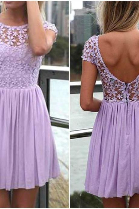 Lavender Purple Open Back Lace and Chiffon Floral Lace Dress
