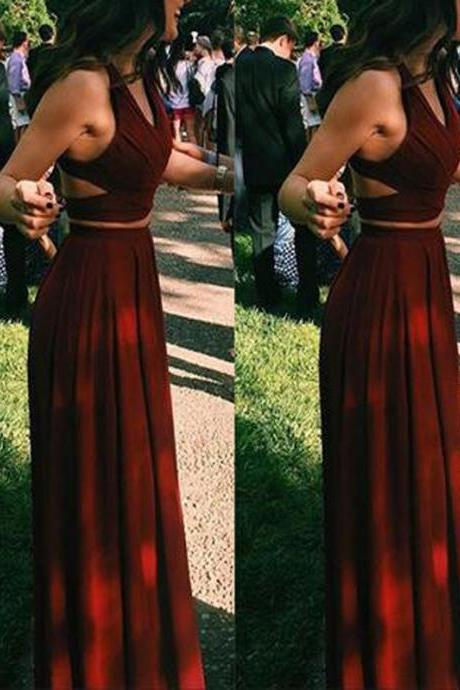 Simple Two Pieces Prom Dresses, Long A-line Prom Dresses, Popular Prom Dresses, Cheap Prom Dresses, 2017 Prom Dresses, Prom Dresses