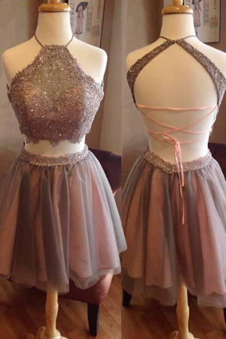 TShort Homecoming Dress,Two Pieces Homecoming Dress,Open Back Homecoming Dress, High Neck Homecoming Dress,Graduation Dress , Homecoming Dress ,Prom Dress for Teens