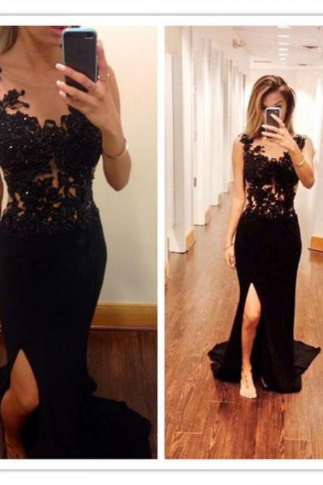 Charming Prom DressSexy Black Handmade Beaded Lace Front Split Long Prom Dresses,Charming Prom Gowns