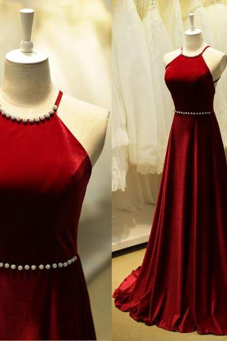 New Arrival Burgundy Long Prom Dresses,Beaded Open Back Evening Dresses,A-line Modest Prom Dress,Party Prom Dresses,Evening Gowns