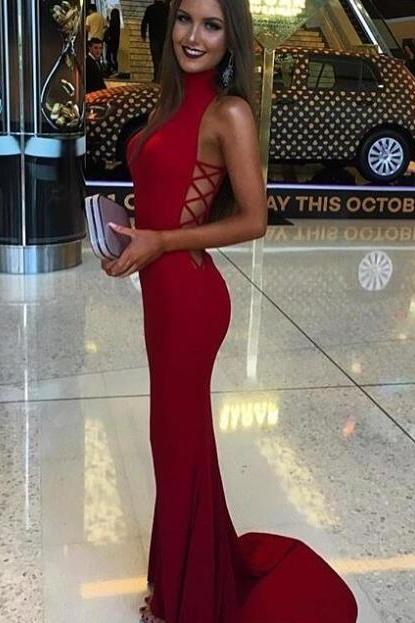 Simple Red Mermaid Prom Dresses,Cheap Prom Gowns,Handmade Evening Dresses,High Neckline Sexy Party Dresses,Women Dresses,Fashion Prom Dresses