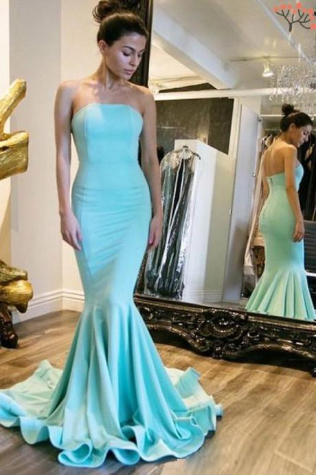 Simple Strapless Long Prom Dresses,Classy Mermaid Cheap Evening Dresses,Women Dresses,Light Blue Prom Gowns,Beautiful Party Prom Dresses