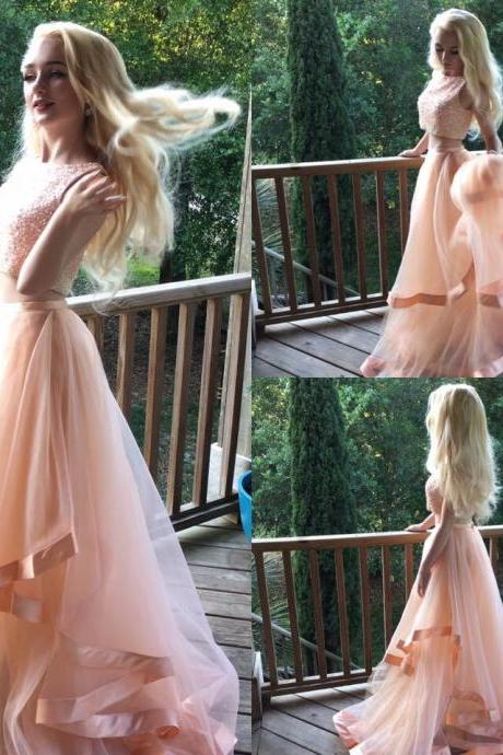 Prom Dress, Two-Piece Prom Dress, Sleeveless Prom Dress, Floor-length Prom Dress, Crop Top Prom Dress, Sexy Prom Dress, Beading Prom Dress