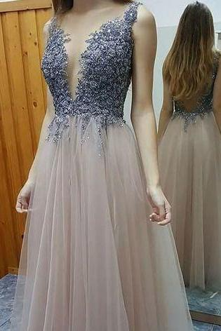 Gorgeous Prom Dress,Modest Prom Dress,Champagne Lace Tulle Prom Dress, Deep V Neck Prom Dress,High Quality Evening Dress,Evening Gowns,Backless Prom Dresses, Hot Sale Sexy Wedding Dress,
