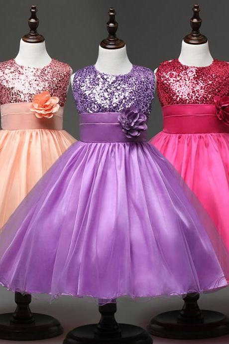 2017 Flower Girl Dresses Flower children's clothes,Children's clothes, girls princess dress, sequined flower flower girl dress, children dress , wedding flower children's clothes, bowknot flower children's clothes, beads girl's skirt