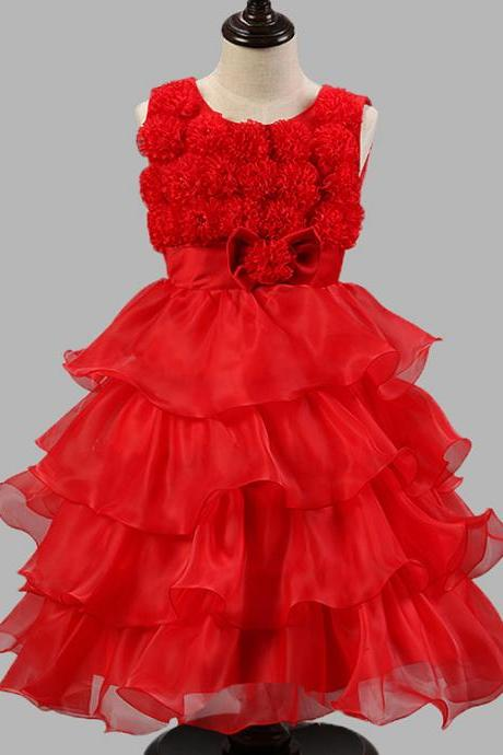 2017 Flower Girl Dresses Flower children's clothes,2017 children's clothes, girls princess dress, flower bow flower girl dress, children dress , wedding flower children's clothes, bowknot flower children's clothes, beads girl's skirt