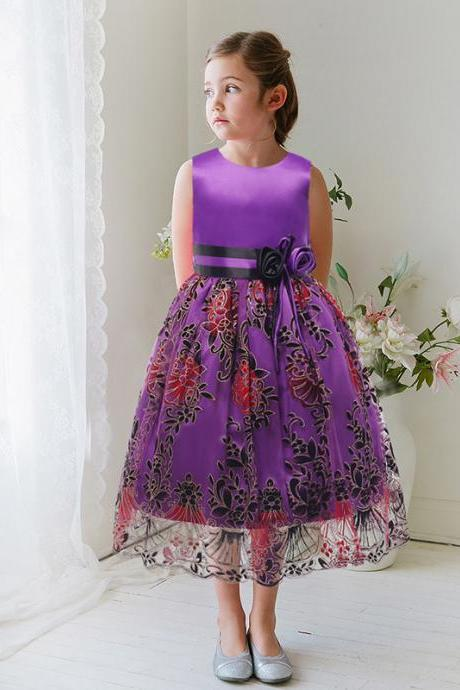 2017 Flower Girl Dresses Flower children's clothes,In the autumn of children's clothes, 2017 fine princess dress dress, embroidery girls dress, flower girl dress wedding flower children's clothes, bowknot flower children's clothes, beads girl's skirt