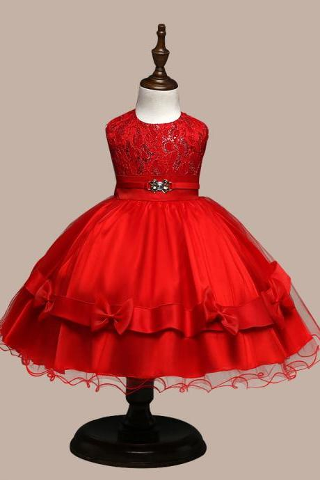 2017 Flower Girl Dresses Flower children's clothes,Children's clothes, bitter fleabane bitter fleabane skirt, Europe and the United States princess dress, girls bow bright trailers child dress, children dress , wedding flower children's clothes, bowknot flower children's clothes, beads girl's skirt